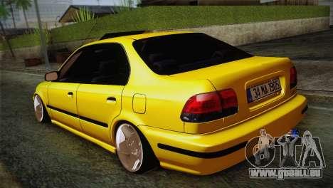 Honda Civic Edit Mehmet ALAN pour GTA San Andreas sur la vue arrière gauche
