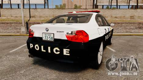 BMW 350i Japanese Police [ELS] pour GTA 4 Vue arrière de la gauche