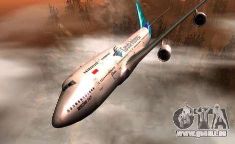 Boeing 747-400 Garuda Indonesia für GTA San Andreas Rückansicht