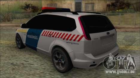 Ford Focus 2008 Station Wagon Hungary Police für GTA San Andreas zurück linke Ansicht