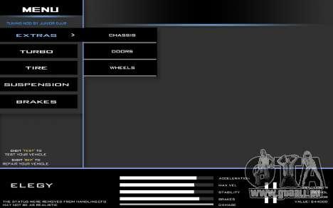 Tuning Mod 0.9 pour GTA San Andreas deuxième écran