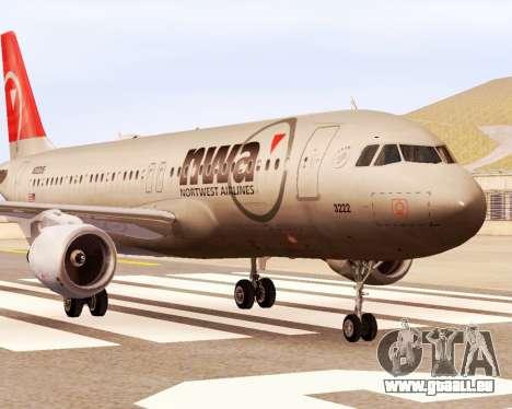 Airbus A320 NWA pour GTA San Andreas sur la vue arrière gauche