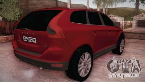 Volvo XC60 2009 pour GTA San Andreas sur la vue arrière gauche