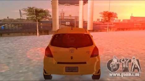 Toyota Yaris pour une vue GTA Vice City de la droite