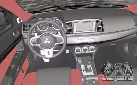 Mitsubishi Lancer Evolution X 2008 für GTA San Andreas rechten Ansicht