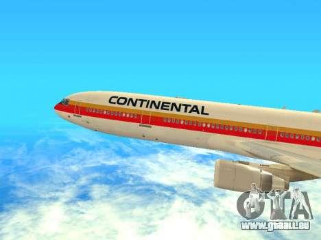 McDonnell Douglas MD-11 Continental Airlines für GTA San Andreas zurück linke Ansicht