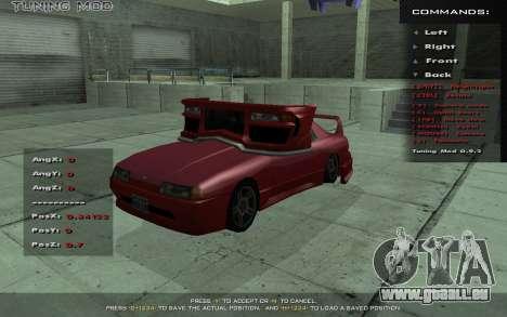 Tuning Mod 0.9 pour GTA San Andreas troisième écran