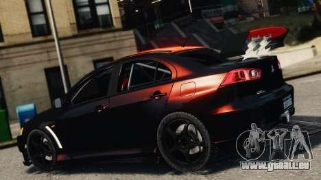 Mitsubishi Lancer Evolution X 2008 Black Edition pour GTA 4 est une gauche