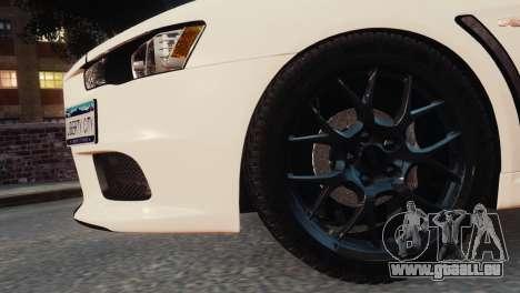 Mitsubishi Lancer Evolution X 2008 pour GTA 4 est un droit