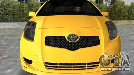 Toyota Yaris pour une vue GTA Vice City de la gauche