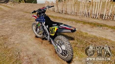 Kawasaki KX250F Monster KX USA für GTA 4 rechte Ansicht