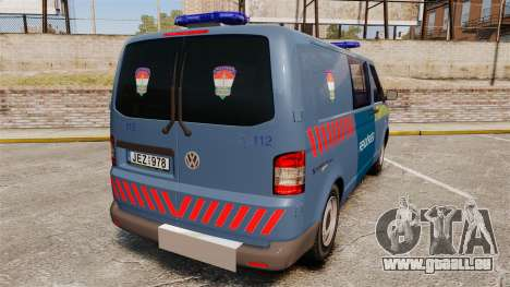 Volkswagen Transporter T5 Hungarian Police [ELS] pour GTA 4 Vue arrière de la gauche