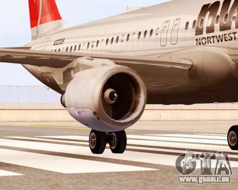 Airbus A320 NWA pour GTA San Andreas vue de droite