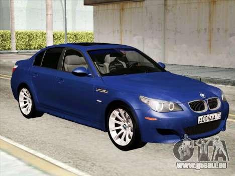 BMW M5 E60 2010 pour GTA San Andreas laissé vue