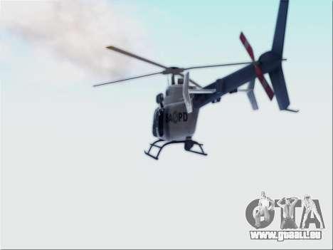 Bell 407 SAPD pour GTA San Andreas sur la vue arrière gauche