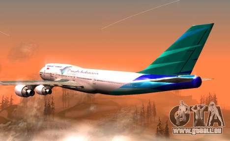 Boeing 747-400 Garuda Indonesia für GTA San Andreas rechten Ansicht