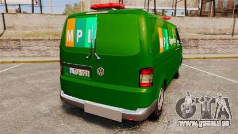 Volkswagen Transporter T5 Hungarian Post [ELS] pour GTA 4 Vue arrière de la gauche