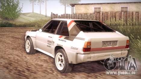 Audi Sport Quattro 1984 pour GTA San Andreas sur la vue arrière gauche