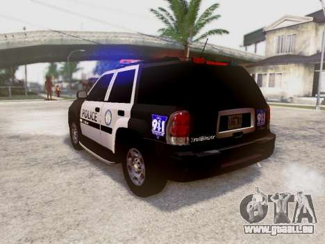 Chevrolet TrailBlazer Police pour GTA San Andreas sur la vue arrière gauche