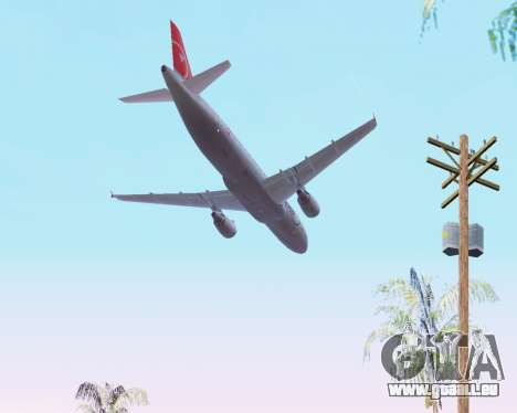 Airbus A320 NWA pour GTA San Andreas vue de dessus