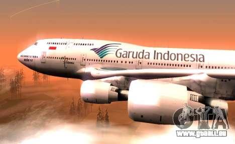 Boeing 747-400 Garuda Indonesia für GTA San Andreas zurück linke Ansicht