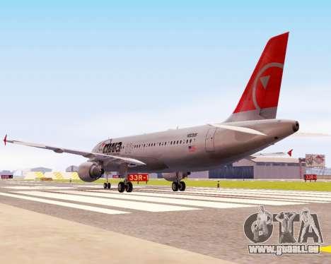 Airbus A320 NWA für GTA San Andreas Rückansicht