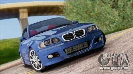 BMW M3 E46 2002 pour GTA San Andreas vue arrière