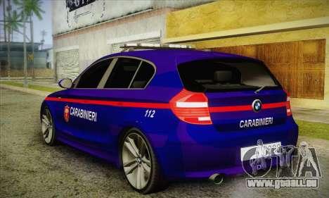 BMW 120i SE Carabinieri für GTA San Andreas zurück linke Ansicht