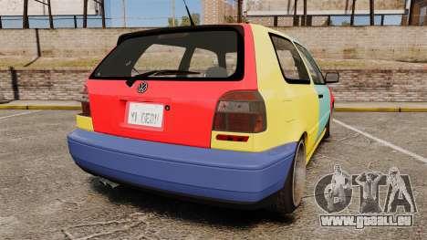 Volkswagen Golf MK3 Harlequin pour GTA 4 Vue arrière de la gauche