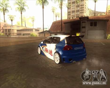 Volkswagen Golf из NFS most Wanted pour GTA San Andreas sur la vue arrière gauche