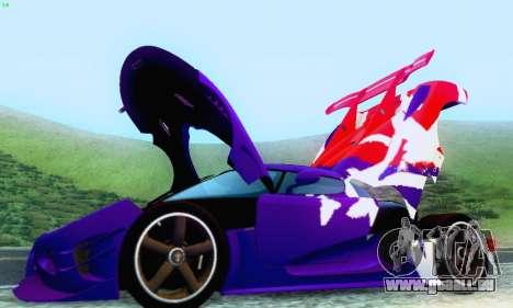 Koenigsegg One 2014 für GTA San Andreas Unteransicht