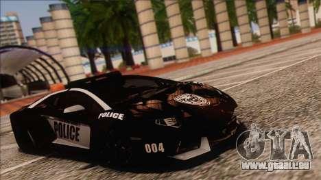 Lamborghini Aventador LP 700-4 Police für GTA San Andreas zurück linke Ansicht