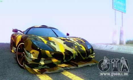 Koenigsegg One 2014 pour GTA San Andreas vue de dessus