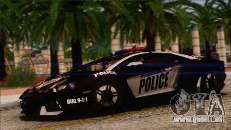 Lamborghini Aventador LP 700-4 Police für GTA San Andreas obere Ansicht