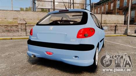 Peugeot 206 pour GTA 4 Vue arrière de la gauche
