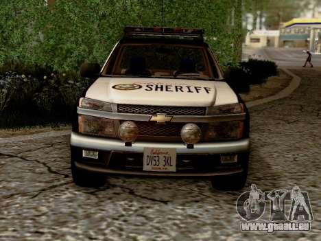 Chevrolet Colorado Sheriff pour GTA San Andreas vue intérieure