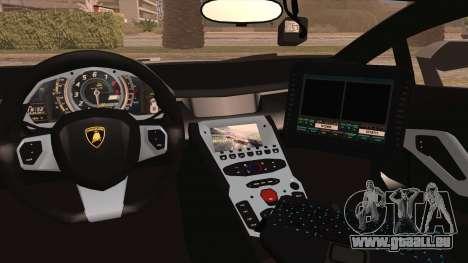 Lamborghini Aventador LP 700-4 Police pour GTA San Andreas vue intérieure