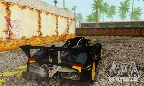Pagani Zonda Type R Black pour GTA San Andreas sur la vue arrière gauche