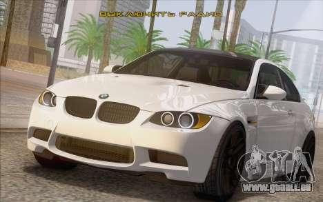 BMW M3 E92 2008 pour GTA San Andreas vue de droite