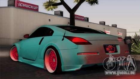 Nissan 350Z Minty Fresh pour GTA San Andreas sur la vue arrière gauche