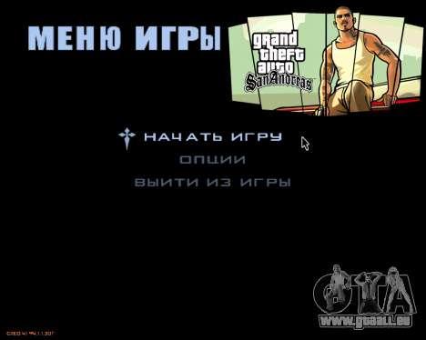 Das Menü des mobilen version des Spiels für GTA San Andreas