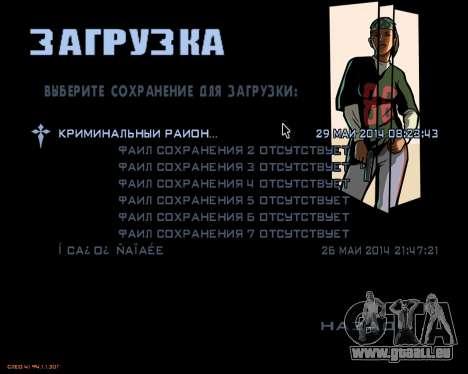 Das Menü des mobilen version des Spiels für GTA San Andreas zweiten Screenshot