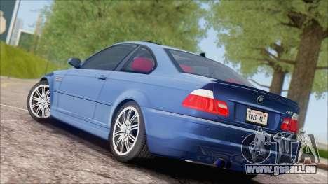 BMW M3 E46 2002 pour GTA San Andreas vue de droite