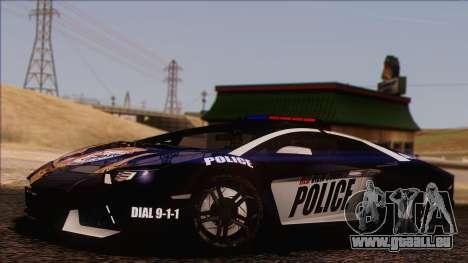 Lamborghini Aventador LP 700-4 Police für GTA San Andreas Unteransicht