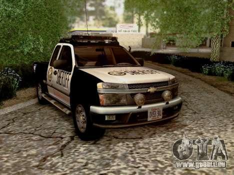 Chevrolet Colorado Sheriff pour GTA San Andreas vue arrière