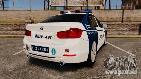 BMW F30 328i Finnish Police [ELS] pour GTA 4 Vue arrière de la gauche