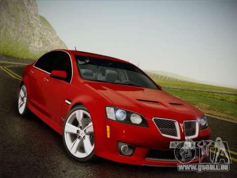 Pontiac G8 GXP 2009 für GTA San Andreas zurück linke Ansicht