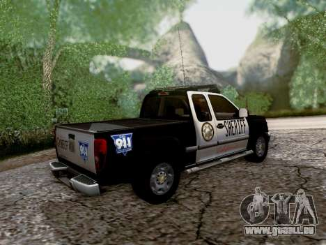 Chevrolet Colorado Sheriff pour GTA San Andreas vue de dessus