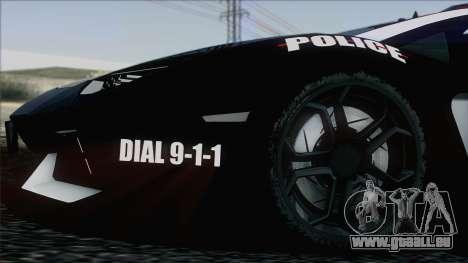 Lamborghini Aventador LP 700-4 Police für GTA San Andreas Innen