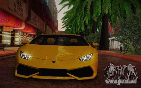 Lamborghini Huracan 2013 pour GTA San Andreas sur la vue arrière gauche